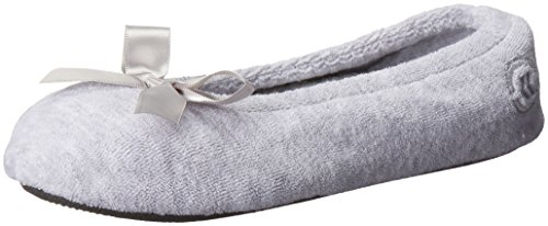 (Isotoner Women's Terry Ballerina Slipper with Bow for Indoor/Outdoor Comfort, Heather Grey, Medium / 6.5-7.5 Regular)