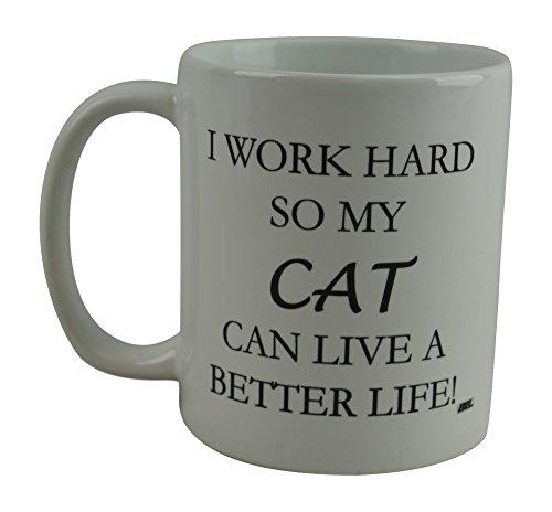Rogue River Funny Coffee Mug I Work Hard So My Cat Can Live
