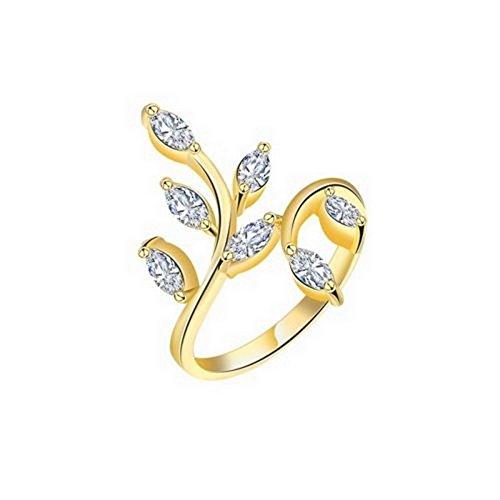 YD Jewels - Personality Fashion Women's 18k Yellow Gold Filled Shine Zircon Rings Size 7 Type 17