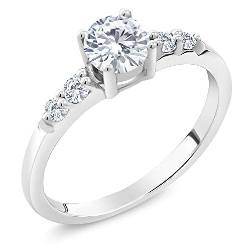 925 Sterling Silver Solitaire w/Accent Stones Lab Grown Diamond Ring Forever Classic (KLM) Round 0.50ct (DEW) Created Moissanite by Charles & Colvard (Size ()