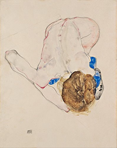 Egon Schiele Giclee Canvas Print Paintings Poster Reproduction (Nude with Blue Stockings, Bending Forward)