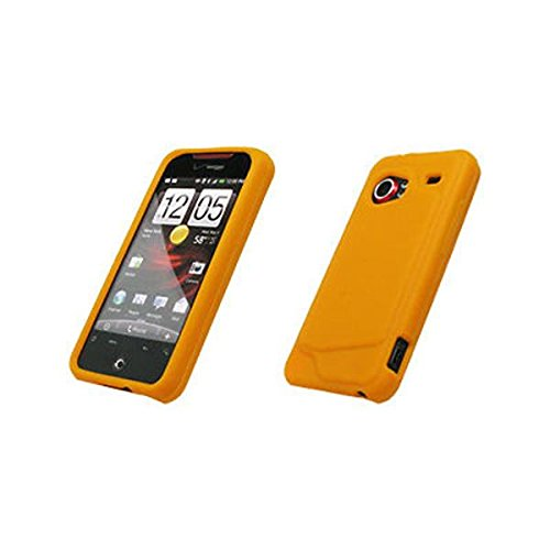 Premium Orange Silicone Gel Skin Cover Case for HTC Droid Incredible Model 6300 [Accessory Export Brand Packaging]
