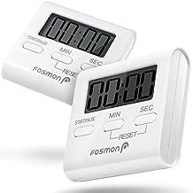 Digital Kitchen Timer (2 Pack), Fosmon Digital Display Kitchen Timer Cooking Baking Count Down Up Clock - Big Digits, Loud Alarm, Magnetic Backing, Foldable Stand, Hanging Loop