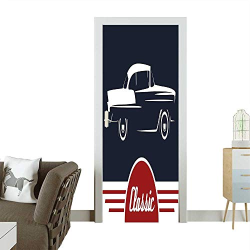 Homesonne 3D Photo Door Murals Nostalgic Car Figure with Classic Typography Emblem Auto Icon Vintage Graphic Indigo Ruby Easy to Clean and applyW23 x H70 INCH