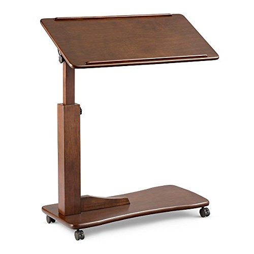 Adjustable Rolling Portable Bedside Table Overbed Table Reading Tray Table 4 Colors (Walnut)