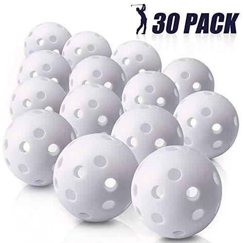 (Biilaflor 30 Pack Polyurethane White Plastic Golf Balls - Bulk Set of Golf Balls for Swing Practice, Backyards, Indoor Simulators and Golf Driving Range)