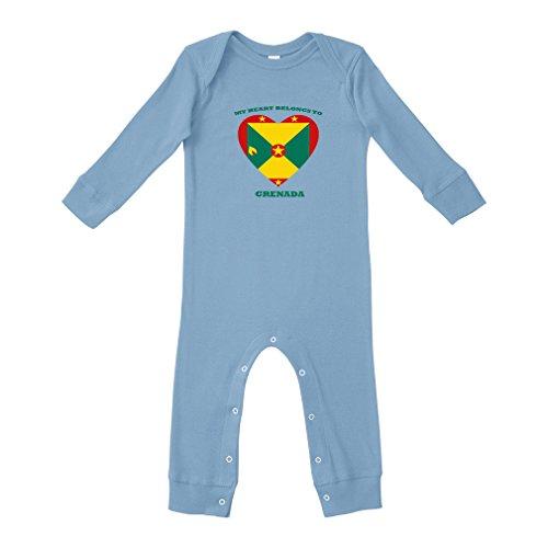 Cute Rascals Love Soccer Heart Grenada Style 1 Cotton Long Sleeve Envelope Neck Unisex Baby Legged Long Rib Coverall Bodysuit - Light Blue, (Grenada One Light)