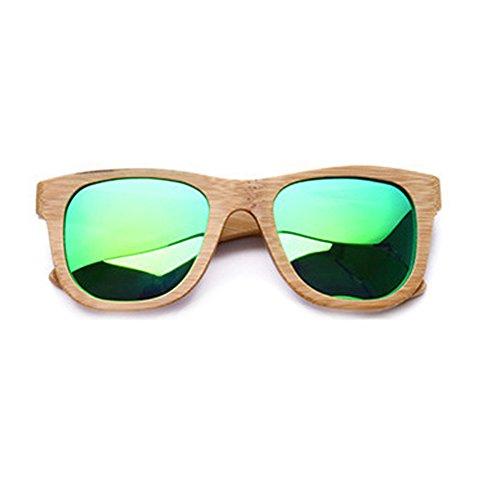 Lunette à Lunettes de sans Soleil Women UV400 Verre Rond boîte en Bamboux cadre en Polarisée Lunettes Green Vintage femme de Soleil Demi Soleil lzndeal de qR4FxnwH