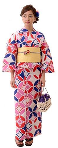 Dita Women's Kyoto Traditional Ready-Made Easy Wearing Kawaii Yukata (Japanese Summer Kimono) Full Set 4 Cloisonne&Stained Glass Free Size - Shop Dita