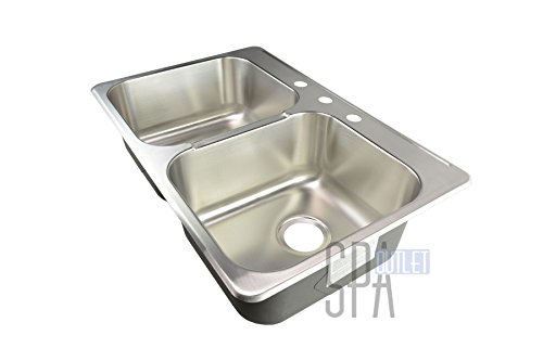Blue Ocean 31 1/4'' KSS918 18 Gauge Stainless Steel Top Mount Kitchen Sink with FREE Strainers by Blue Ocean (Image #3)