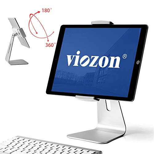 Viozon iPad Pro Stand, Tablet Stands 360° Rotatable Aluminum Alloy Desktop Mount Stand for iPad Pro iPadAir iPad Mini Surface and Surface Pro (Silver General) (Mini Stand Aluminum Kit)