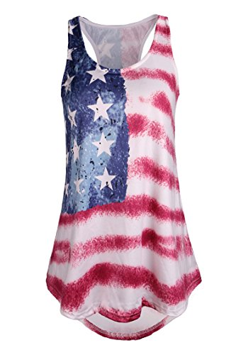 DREAGAL Women's Patriotic USA Flag Stripes and Stars Tank Top Style 8 Large -