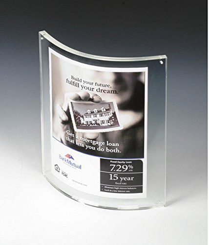 Unit of 12 8.5 x 11 Magnetic Picture Frame for Tabletop, Curved Box - Clear Acrylic 19192