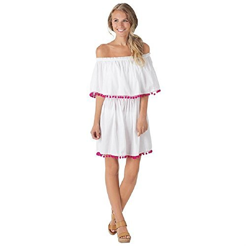 Mud Pie Presley Pom Pom Cover Up In White and Pink Womens Apparel (Small) for $<!--$39.99-->