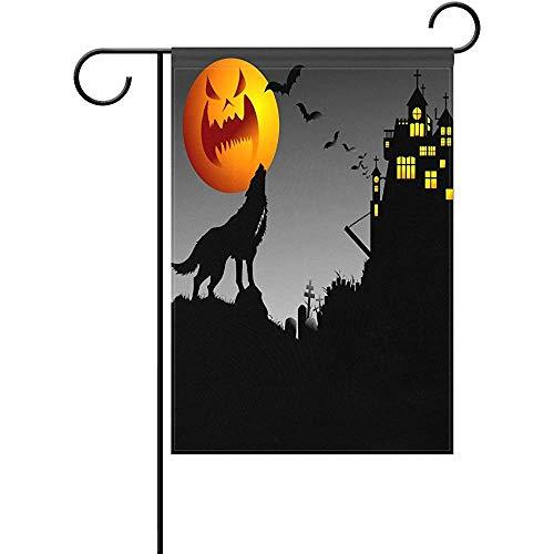 Staroden Halloween Scary Pumpkin Wolf Bats Castle Gravestone Home Garden Flag Double Sided Spring Summer Yard Outdoor Decorative House Flag 12