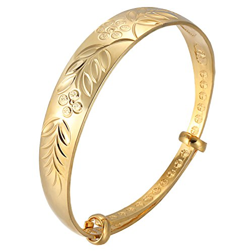 Valentine's Day Gift VIDENG POLO 925 Sterling Silver Cuff Gold Plated Bracelet Carving for Women Wife Girlfriend (Sterling 2 Piece Carving)