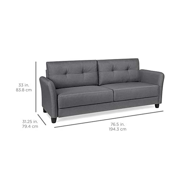 Best Choice Products 76 inch Linen Fabric Upholstered Contemporary Sofa Couch Lounger, Dark Gray - CLASSIC STYLE: This sofa's simple design makes it ideal for any living space, with an adaptable appearance that blends well in a variety of stylish home setups COMFORTABLE DESIGN: Soft cushioned seats and a tufted backrest provide optimal comfort for you and guests as you lounge over drinks and good conversation GREAT FOR COMPACT SPACES: Made to fit seamlessly in your living room, bonus room, dorm, and more, this sofa doesn't carry excess bulk that takes up too much space - sofas-couches, living-room-furniture, living-room - 41Xf7ZucvoL. SS570  -