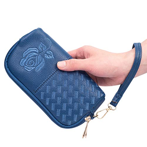 Wristlet Wallet with Strap for Women, Leather Wristlets Phone Purse Clutch for iphone (Wristlet blue) by JZE (Image #4)