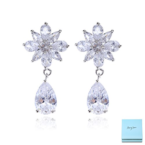 (Silver Cubic Zirconia Wedding Earrings - Women's 14k White Gold Plated Elegant Teardrop Floral Cluster CZ Crystal Rhinestone Wedding Earring for Bride Bridesmaids Mother of Bride Pageant Party Prom)