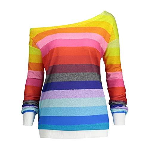 Womens Casual Long Sleeve Skew Collar Rainbow Striped Print T-Shirt Sweatshirt Tops Pullover Blouses (S-2XL)