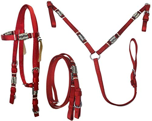D.A. Brand Deluxe Nylon Bridle & Breast Collar w/Braided Rawhide Trim Horse Tack(Red Mini Pony)