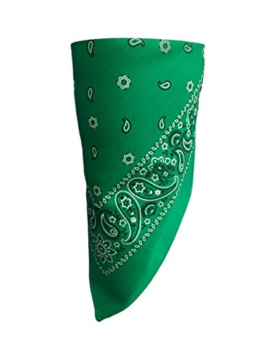 (Green Paisley VELCRO®Brand Adjustable Close Bandanna Mask Face Cover Reversible Dust, Bug Mask, Sun and Exhaust Protection, Motorcycle ATV Rider Hand Made By My Skull Store)