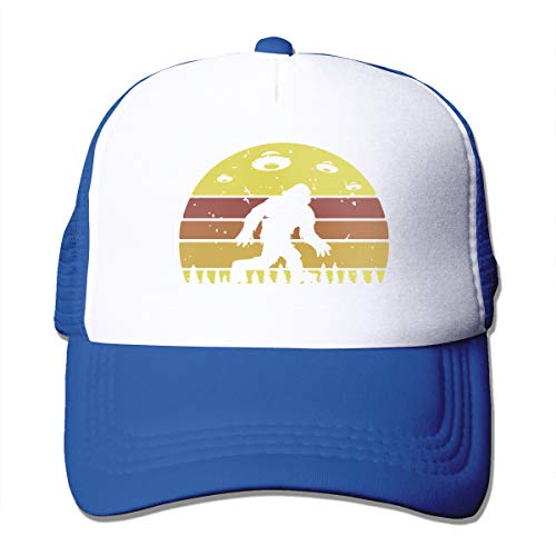 Bigfoot Retro Alien Invasion UFO Adult Trucker Baseball Mesh Cap Adjustable Hat for Men Women Blue