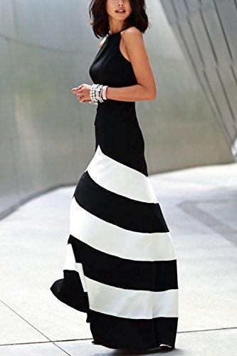 Rayas Sevozimda Vestido Black Largo Y Verano Elegante Ajuste Maxi Fiesta De Acampanado De Mujer faqfw