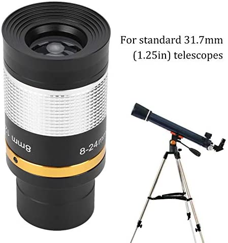 Dpofirs 8-24mm Continuous Zoom Eyepiece Lens for Telescopes, Telescope Adapters, Wide Field of View Optical Lens with Extended Magnification, Suitable for 31.7mm Standard Telescope