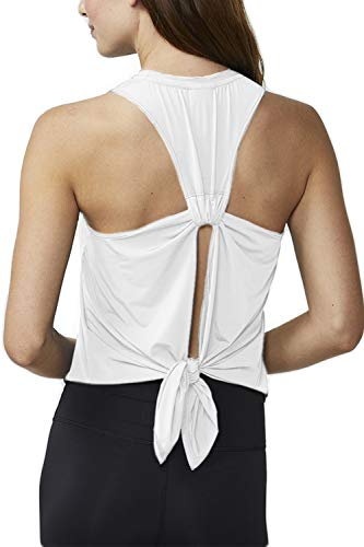 Fofitness Women's Sexy Workout Yoga Clothes Athletic High Neck Tank Tops Sleeveless Sports Shirts Training Casual Super Soft Tie Knot Tanks Gym Exercise Wear White, Medium (Sexy Exercise)