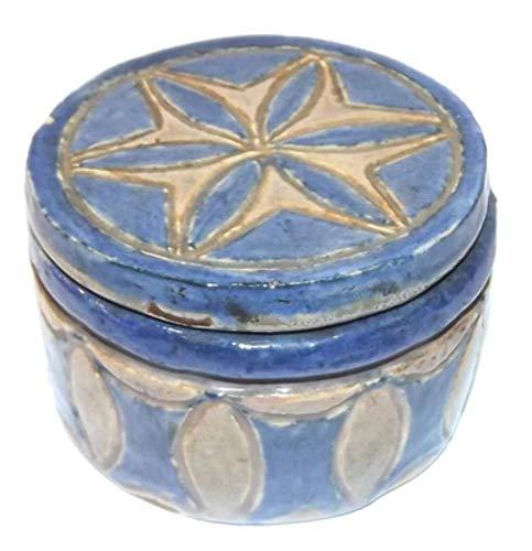 - 1934 Vintage SIgned L. Takacs Art Pottery Round Stoneware Lidded Trinket Box