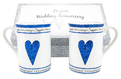 45th Sapphire Wedding Anniversary Gift Set Ceramic Mugs By Haysoms
