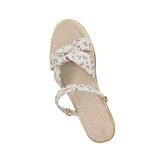 Jitong Bohemian Beach Shoes for Ladies Open-Toe Casual Flat Sandals Low Top Floral Slip ONS Beige hIw6HcQRj
