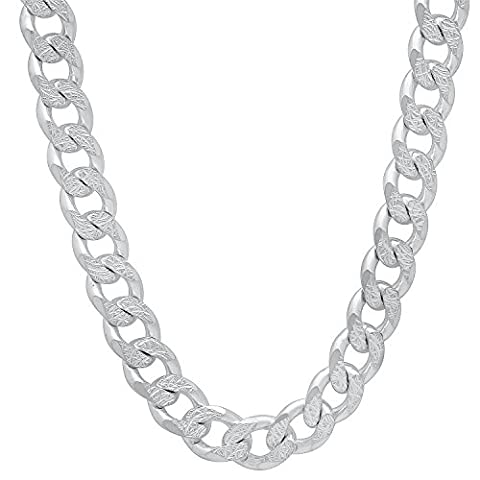 8mm 925 Sterling Silver Diamond-Cut Cuban Curb Link Nickel Free Chain, 24