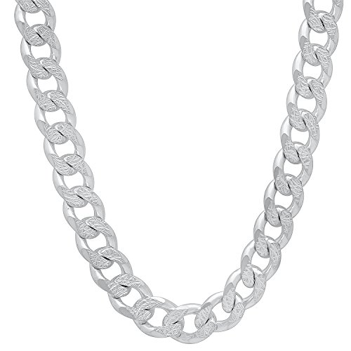 Men's 8mm 925 Sterling Silver Italian Crafted Diamond-Cut Cuban Curb Link Chain, 24