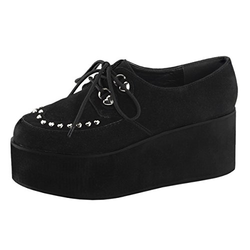 2 Inch Black Womens Up Suede 3 Summitfashions 4 Platform Studs Lace Shoes Heart Platform Vegan OwHvUngqWU