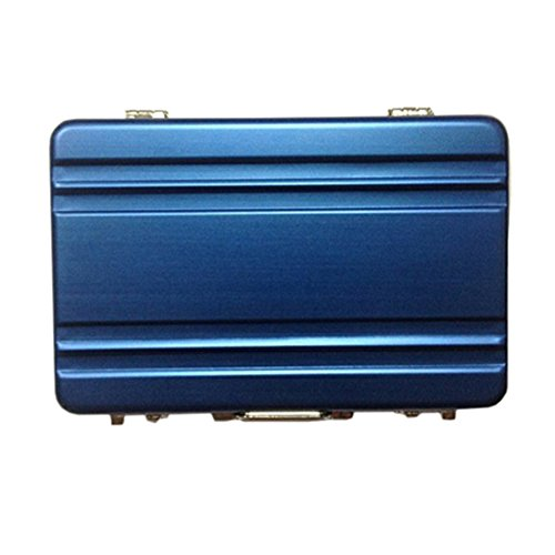 Cool Metal Password Briefcase Business Card Bank Card ID Card Credit Card Holder Case Name Card Storage Organizer (Blue)