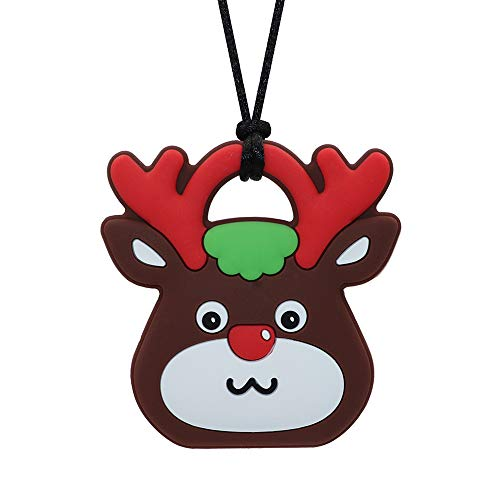 Sensory Chew Necklace for Boys and Girls - Silicone Christmas Reindeer Chewy Pendant for Autism, ADHD, SPD, Teething, Biting with Special Needs Kids, Oral Motor Baby Teether Nursing Chewlery Toy