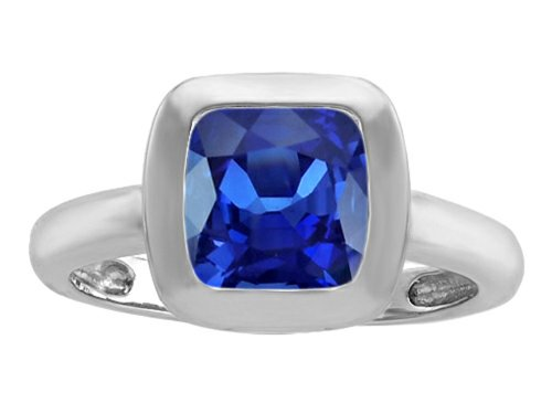 Star K 8mm Cushion-Cut Solitaire Ring with Created Sapphire Size 8 (Womens Blue Star Sapphire Rings)