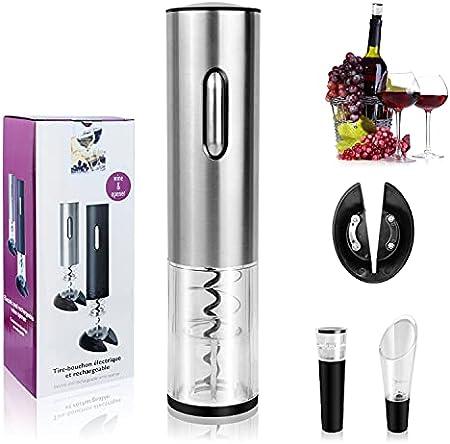 Nologie Juego de abrebotellas electrónico, abrebotellas de Vino automático con sacacorchos Recargable con Bomba de Ahorro de Vino, aireador de Vino y Cortador de lámina de Vino