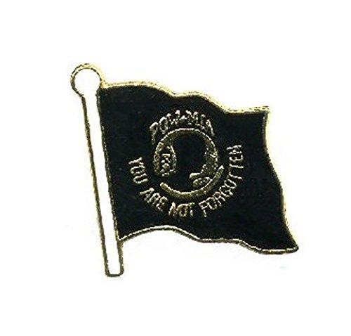 (POW MIA Flag Lapel Pin Hat Tie Tac Brass CHN)