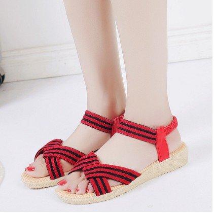 piatto 40 semplice estate 2611 solido Roma fondo Red colore elastico di yalanshop raccordo Roman sandals sandali di pesce wfqxtXIXa