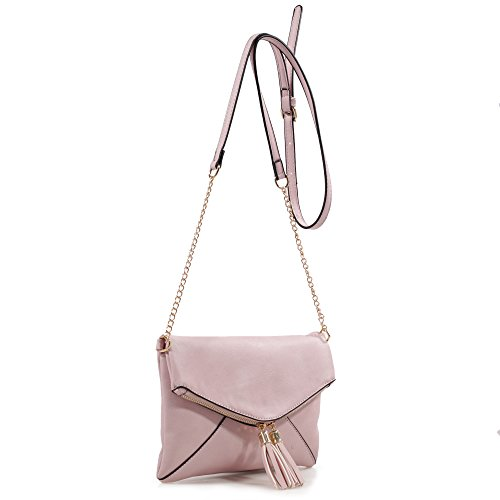 DELUXITY Crossbody Tassel Bag with Adjustable Chain Strap (Blush)