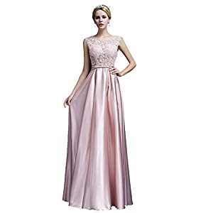 ea3762c63ffd4 Beauty-Emily Womens Long Formal Evening Dresses Appliques Prom Party  Cocktail Wedding Guest Gowns Pink US18 Plus Size