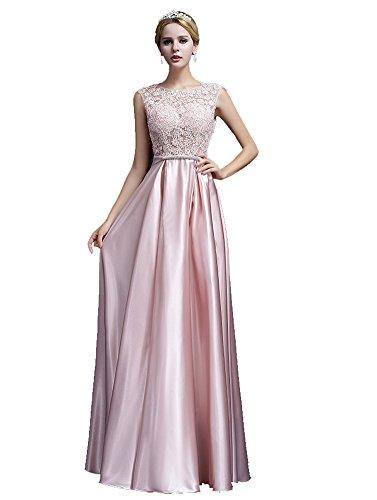Damen Lang ärmellos Emily Pink mit Rückenfrei Abendkleider Beauty Spitze gwEf1qwx
