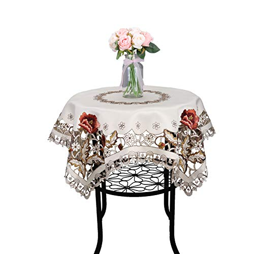 Luxury Cutwork Handmade Embroidery Floral Jacquard Table Cloths Cover Round 32 inch Approx
