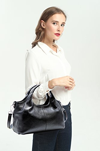 Handbag Small Shoulder Purse For Tote Iswee Black Women Leather Leather Bag Bag Genuine qFt0g