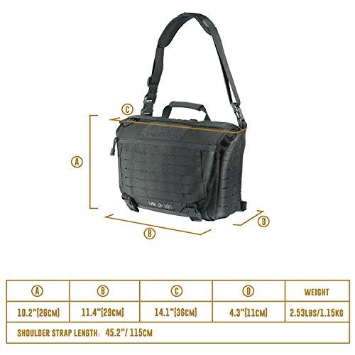 1f6e9a8c55 OneTigris HU Tactical Messenger Bag Laser-Cut MOLLE Laptop Shoulder Bag