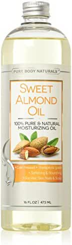 Pure Body Naturals Sweet Almond Oil, Cold-Pressed, 16 Fluid Ounce