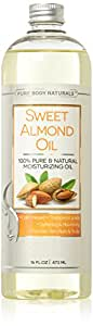 Pure Body Naturals Cold Pressed Sweet Almond Oil for Skin, Hair and Nails, 16 Fl Ounce